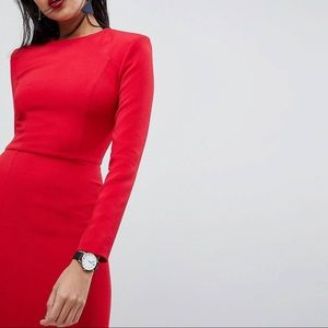 ASOS Shoulder Pad Red Midi Dress with Seams Size 4